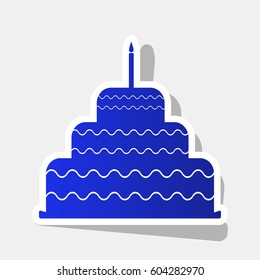Cake with candle sign. Vector. New year bluish icon with outside stroke and gray shadow on light gray background.