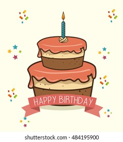cake candle sweet happy birthday desing isolated