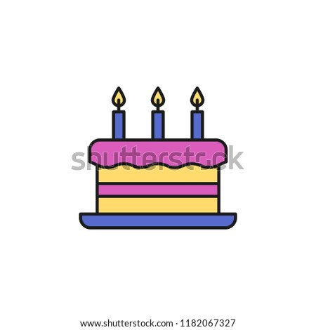 Cake With Candles Colored Icon Element Of Birthday Party For Mobile Concept And Web