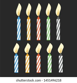 Cake candles with flame vector illustration. Birthday cake candle isolated