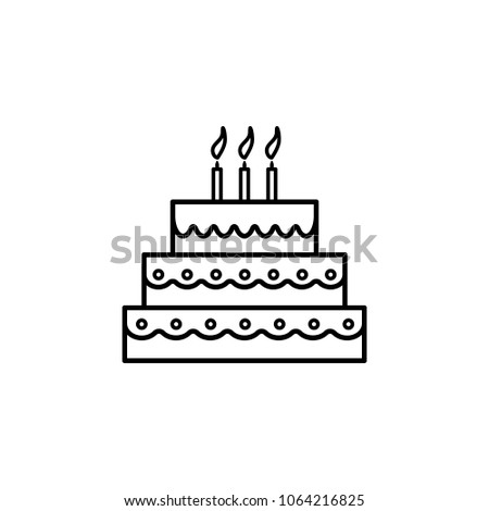 Cake With Candles Icon Element Of Eating For Mobile Concept And Web Apps Thin