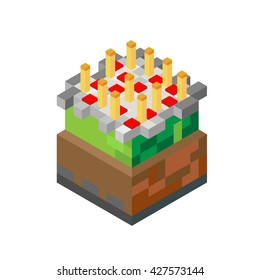 Cake with candles in minecraft style. 3D Flat Isometric isolated on white