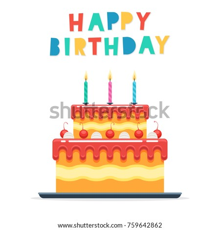 cake candles words happy birthday isolated stock vector royalty