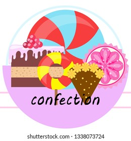 cake capcake candy, sweet, abstract, vector illustration.