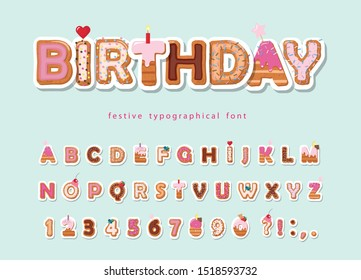 Cake cartoon font. Cute sweet letters and numbers for birthday card, baby shower, Valentines day, sweets shop, girls magazine, collages. Paper cut out. Vector.