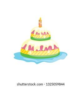 cake cartoon on white background