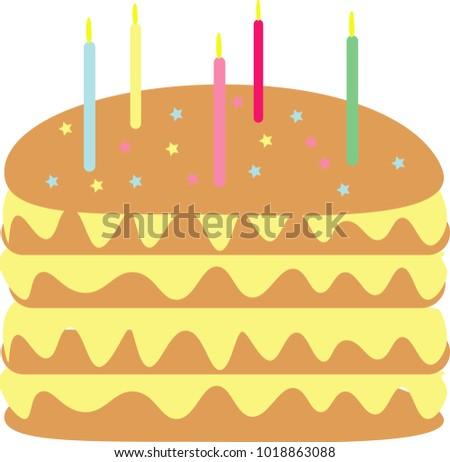 Cake Chocolate Candles Star Cream Vanilla Birthday Five
