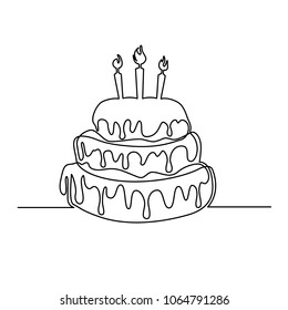 A cake with cream and candles is drawn with a single line on a white background. One-line drawing. Continuous line. Vector Eps10