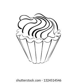 Cake with cream for a logo, menu.