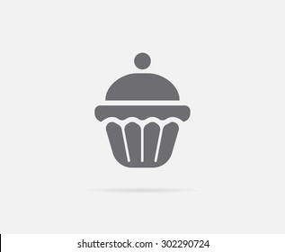 Cake Cupcake Cream Cherry Vector Element or Icon, Illustration Ready for Print or Plotter Cut or Using as Logotype with High Quality