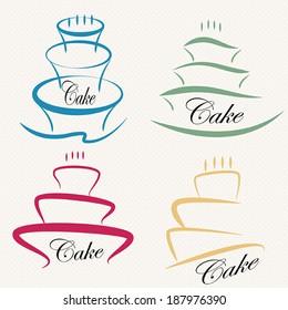 Cake Design symbol set .