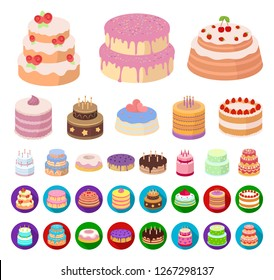 Cake and dessert cartoon,flat icons in set collection for design. Holiday cake vector symbol stock web illustration.