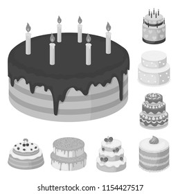 Cake and dessert monochrome icons in set collection for design. Holiday cake vector symbol stock web illustration.