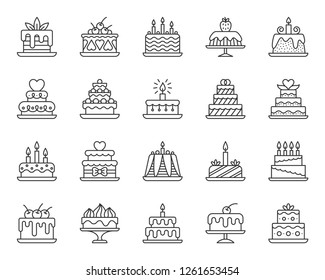 Cake dessert thin line icon set. Outline web sign kit of sweet food. Birthday party linear icons of homemade baking, chocolate delicious. Simple cupcake contour symbol on white. Vector Illustration