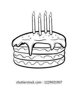 cake doodle icon vector