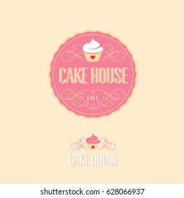Cake house logo. Baking and bakery emblem. Pink badge with cake and letters.