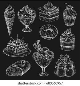 Cake and ice cream chalk sketch on blackboard. Cake, cupcake, donut, ice cream cone and sundae dessert, muffin, fruit pudding, berry pie, chocolate swiss roll for bakery and pastry menu board design