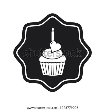 Cake Icon Birthday Cupcake Vector Icon Stock Vector Royalty Free