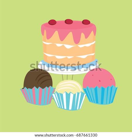 Cake Icon Cupcake Vector Birthday Cake Stock Vector Royalty Free