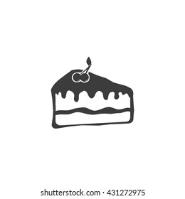 Cake icon. Flat vector illustration in black on white background. EPS 10