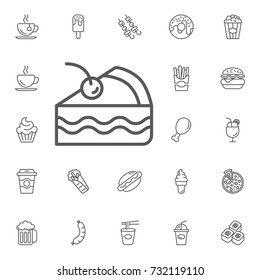 Cake icon on the white background. Simple Set of FAST FOOD Vector Line Icons.