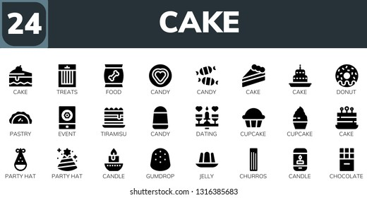 cake icon set. 24 filled cake icons.  Collection Of - Cake, Treats, Food, Candy, Donut, Pastry, Event, Tiramisu, Dating, Cupcake, Party hat, Candle, Gumdrop, Jelly, Churros, Chocolate