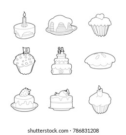 Cake Icon Set Outline Of Vector Icons For Web Design Isolated On White