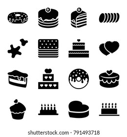 Cake icons. set of 16 editable filled cake icons such as donut, muffin, heart lock, cookie