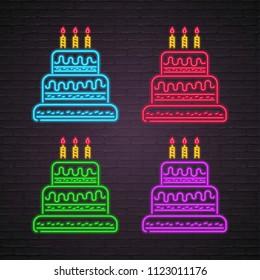 Pleasant Neon Birthday Cake Images Stock Photos Vectors Shutterstock Birthday Cards Printable Riciscafe Filternl