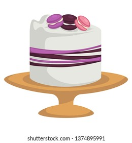 Cake isolated icons confectionery product vector chocolate and fruit jam strawberry and lavender macaroons pastry food festive dessert on plates festive decorations