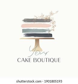 Cake Logo Design, Bakery logo, cake with golden flowers