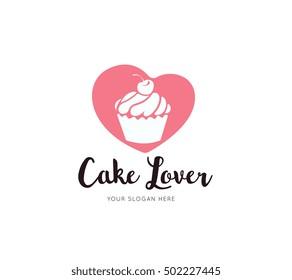 Cake Lover Logo, Love cake icon