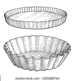 Cake mold illustration, drawing, engraving, ink, line art, vector