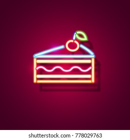 Cake neon sign. Neon sign, bright signboard, light banner. Vector icon