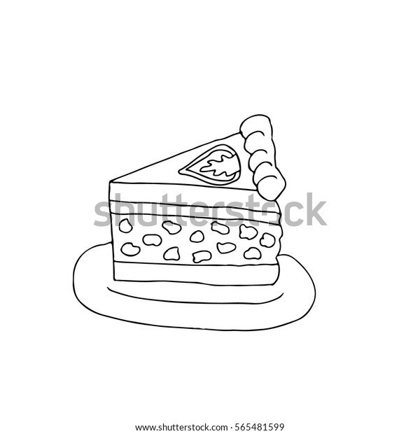 Cake On Plate Cake Isolated Vector Stock Vector (Royalty