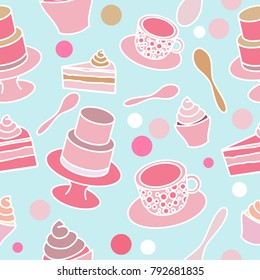 Cake party seamless pattern in pastel colours on turquoise background