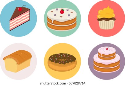 Cake Pastry and Bread icon vector
