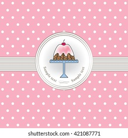 Cake and pink background with polka dots.