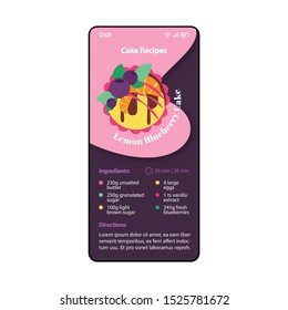 Cake recipes smartphone interface vector template. Mobile app page pink and purple design layout. Lemon blueberry cake screen. Flat UI for application. Sweet dessert. Meal planning app. Phone display
