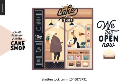 Cake shop, cakes on demand - small business graphics - facade -modern flat vector concept illustrations - a shop front entrance, showcase, shop interior - assistant at the counter, buyer