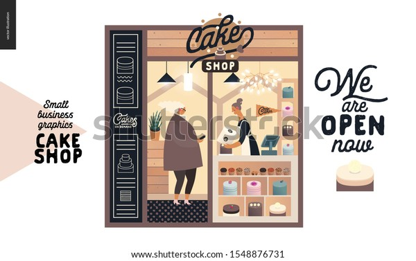 Cake Shop Cakes On Demand Small Stock Vector Royalty Free 1548876731