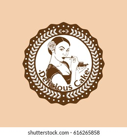 cake shop logo vector with beautiful girl icon