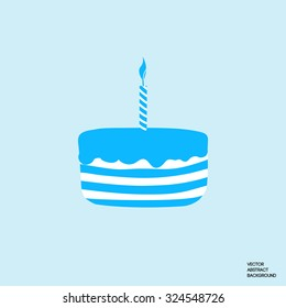 Cake silhouette. Birthday cake. Sweet pastries. Cake with a candle. Blue cake