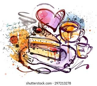 Cake Sketch isolated on white background.