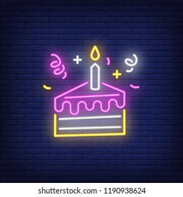 Cake slice neon sign. Luminous signboard with birthday treat. Night bright advertisement. Vector illustration in neon style for celebration, menu, bakery