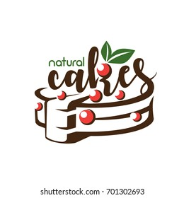 cake stylized symbol, logo template