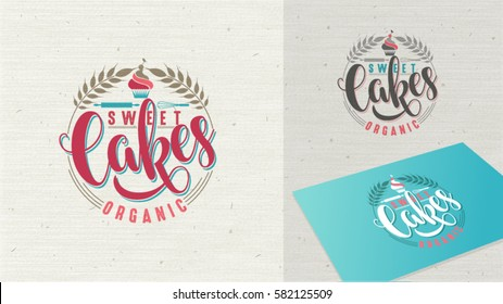 Cake sweet logo. Fresh tasty vector organic dessert emblem. Fruit cupcake with one cherry on top of it. Baked cake with cream in simple cartoon style easy editable for Your design