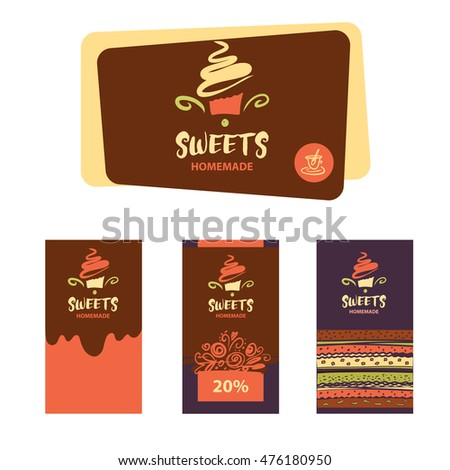 Cake Sweet Shop Logo Homemade Dessert Stock Vector Royalty Free