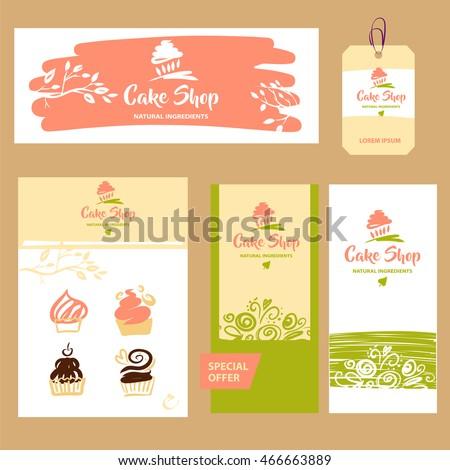 Cake Sweet Shop Logo Natural Ingredient Stock Vector Royalty Free