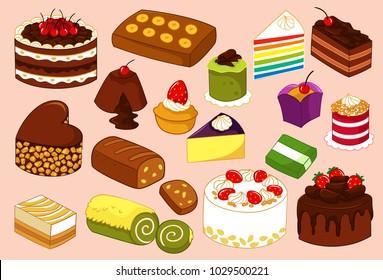 Cake and Tart Variant Vector Illustration